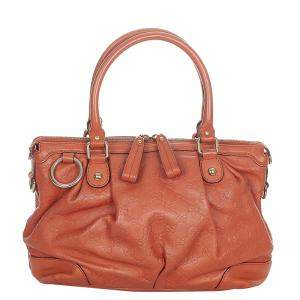 Gucci Orange Calf Leather Sukey Satchel Bag