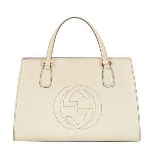 Gucci White Leather Soho Satchel Bag