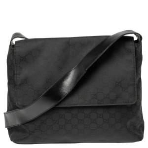 Gucci Black GG Nylon Messenger Bag