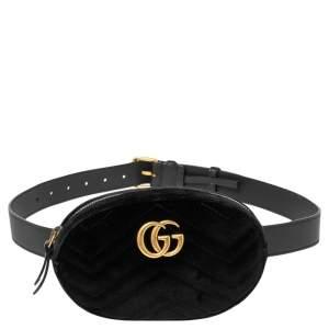 Gucci Black Matelasse Velvet GG Marmont Belt Bag