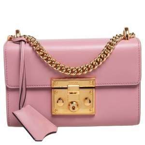 Gucci Pink Leather Small Padlock Shoulder Bag