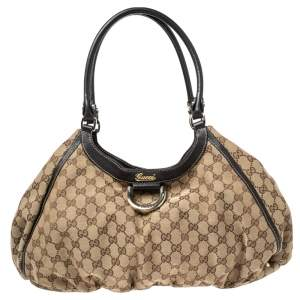 Gucci Brown/Beige GG Canvas and Leather Abbey D-Ring Shoulder Bag