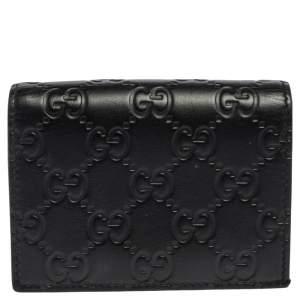 Gucci Black Guccissima Leather Card Case