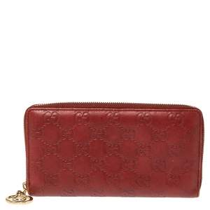 Gucci Maroon Guccissima Leather GG Icon Zip Around Wallet