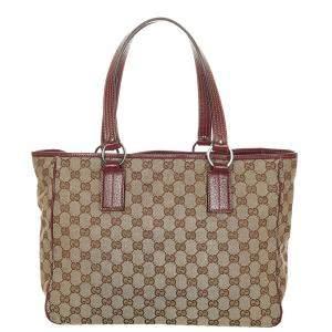 Gucci Brown/Beige GG Canvas Fabric Tote Bag