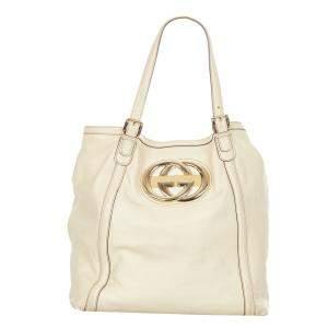 Gucci White Leather Web Britt Tote Bag