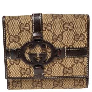 Gucci Brown/Beige GG Canvas and Leather Interlocking G French Wallet
