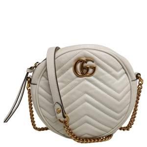 Gucci White Matelassé Leather Mini GG Marmont Round Crossbody Bag