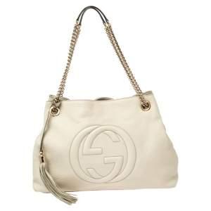 Gucci Off White Pebbled Leather Medium Soho Tote