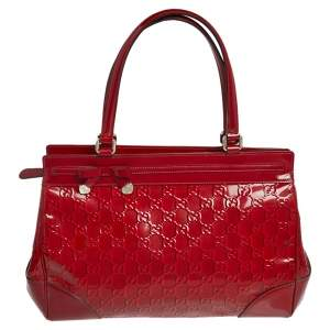 Gucci Red Guccissima Patent Leather Mayfair Tote
