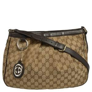 Gucci Brown/Ebony GG Canvas Medium Sukey Messenger Bag