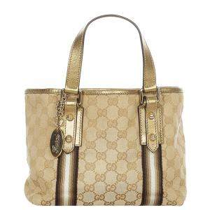 Gucci Brown/Beige Canvas Leather Fabric Jolicoeur Tote Bag