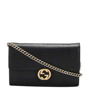 Gucci Black Leather Interlocking G Leather Wallet on Chain Bag
