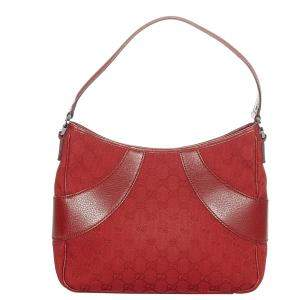 Gucci Red GG Canvas Fabric Shoulder Bag
