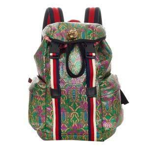 Gucci Green Fabric Brocade Web Backpack