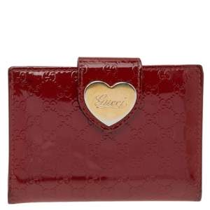 Gucci Red Microguccisima Patent Leather Hart Compact Wallet