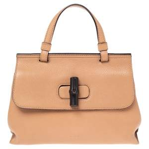 Gucci Beige Leather Small Bamboo Daily Top Handle Bag