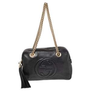 Gucci Black Leather Medium Soho Chain Shoulder Bag