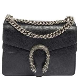 Gucci Black Leather and Suede Mini Dionysus Shoulder Bag