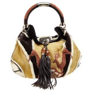 Gucci Multicolor Fur, Suede And Leather Deer Patchwork Indy Hobo