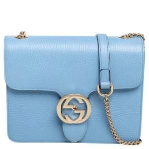 Gucci Blue Leather Interlocking G Shoulder Bag