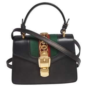 Gucci Black Leather Mini Sylvie Top Handle Bag
