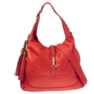 Gucci Red Leather Large New Jackie Hobo