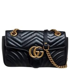 حقيبة كتف غوتشي جي جي مارمونت جلد ماتيلاس أسود صغيرة