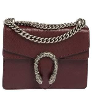 Gucci Burgundy Leather Mini Dionysus Shoulder Bag