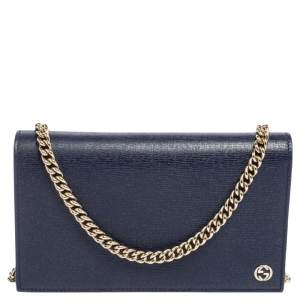 Gucci Blue Leather Betty Wallet on Chain