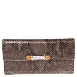 Gucci Olive Green Python Bamboo Continental Wallet