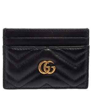 حافظة بطاقات غوتشي مارمونت GG جلد ماتيلاس أسود