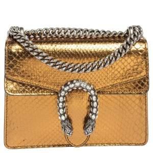 Gucci Metallic Gold Python Mini Dionysus Shoulder Bag
