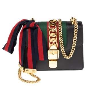 Gucci Black Leather Mini Web Sylvie Chain Crossbody Bag