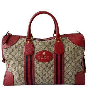 Gucci Beige GG Canvas Web-Trimmed Neo Vintage Duffle Bag