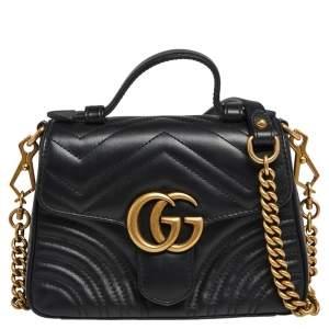 Gucci Black Matelassé Leather Mini GG Marmont Top Handle Bag