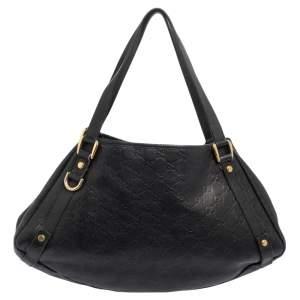 Gucci Black Guccissima Leather Abbey Tote