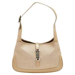 Gucci Beige Canvas And Leather Small Jackie Hobo
