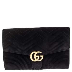 Gucci  Black Matelassé Velvet GG Marmont Clutch