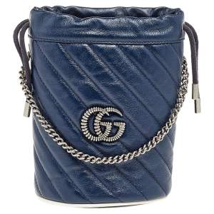 Gucci Blue/White Quilted Leather GG Marmont Bucket Bag