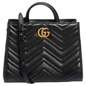Gucci Black Matelasse Leather Small GG Marmont Tote