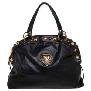 Gucci Black Leather Babouska Dome Satchel