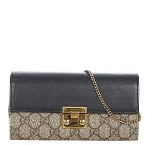 Gucci Brown/Beige GG Supreme Canvas Padlock Small Crossbody Bag