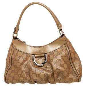 Gucci Gold Guccissima Leather Medium D-Ring Hobo