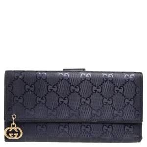 Gucci Blue GG Imprime Canvas Continental Wallet
