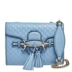 Gucci Light Blue Microguccissima Leather Mini Emily Chain Shoulder Bag