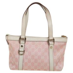 Gucci White/Pink GG Canvas and Leather Small Abbey Tote
