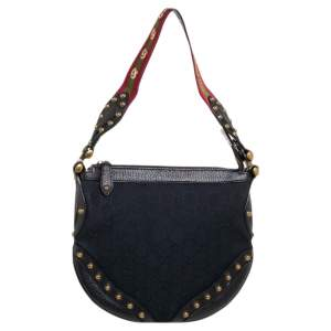 Gucci Black GG Canvas and Leather Small Studded Pelham Hobo