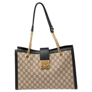 Gucci Black/Ebony GG Supreme and Leather Medium Padlock Tote