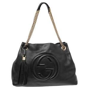 Gucci Black Leather Medium Soho Chain Tote